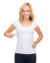 Woman in blank white t shirt design concept smiling Royalty Free Stock Photography