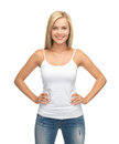 Woman in blank white t shirt picture of happy Royalty Free Stock Photo
