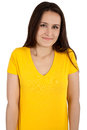 Woman with blank yellow t shirt young posing isolated on white Royalty Free Stock Photo