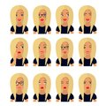 stock image of  Woman with blond hair and emotions. User icons. Avatar Vector illustration