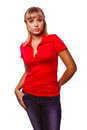 Woman blonde girl in a red t shirt and blue jeans isolated on white background studio Stock Photos