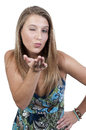Woman Blowing a Kiss and Winking Royalty Free Stock Photo