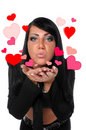 Woman blowing love hearts Royalty Free Stock Photo