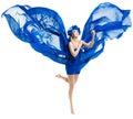 Woman in blue dress wings, waving fluttering fabri Royalty Free Stock Photo