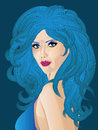 Woman with blue hair fancy long curly and eyes Royalty Free Stock Images
