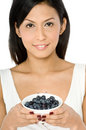 Woman With Blueberries Royalty Free Stock Photography