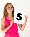 Woman with board dollar mark Royalty Free Stock Photo