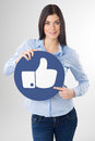 Woman with board pointing to a blank Royalty Free Stock Photo