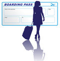 Woman and boarding pass Royalty Free Stock Photo