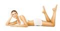 Woman Body Beauty, Girl in White Cotton Underwear, Model Lying Royalty Free Stock Photo