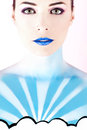 Woman with body painted to look like the sky closeup portrait of a beautiful Stock Photography
