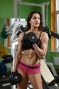 Woman bodybuilder training with dumbbell Royalty Free Stock Photos