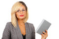 Woman with book pretty businesswoman holding up a Royalty Free Stock Image