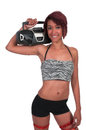 Woman with boom box beautiful holding a on her shoulder Royalty Free Stock Images