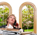 Woman bored with phone call Stock Photography