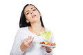 Woman boring to eat salad young vegetable Stock Image