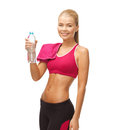 Woman with bottle of water picture sporty Stock Images
