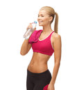 Woman with bottle of water picture sporty Royalty Free Stock Photo