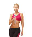 Woman with bottle of water picture sporty Stock Photo