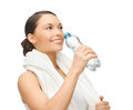 Woman with bottle of water picture sporty Stock Image