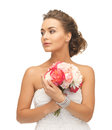 Woman with bouquet of flowers close up young Royalty Free Stock Image