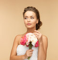Woman with bouquet of flowers picture young Stock Image