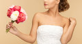 Woman with bouquet of flowers picture young Royalty Free Stock Photos