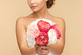 Woman with bouquet of flowers picture young Royalty Free Stock Photography