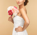 Woman with bouquet of flowers picture young Royalty Free Stock Images