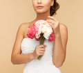 Woman with bouquet of flowers picture young Stock Photos