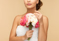 Woman with bouquet of flowers picture young Royalty Free Stock Photo