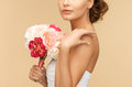 Woman with bouquet of flowers picture young Stock Images