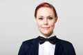Woman with bow tie Royalty Free Stock Photography