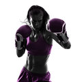 Woman boxer boxing kickboxing silhouette isolated Royalty Free Stock Photo