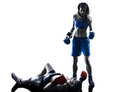 Woman boxer boxing man kickboxing silhouette isolated Royalty Free Stock Photo