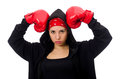 The woman boxer isolated on the white Stock Photo