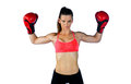 Woman boxer strong athlete with boxing gloves Royalty Free Stock Photo