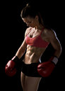 Woman boxer strong athlete with boxing gloves Stock Images
