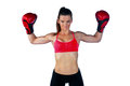 Woman boxer strong athlete with boxing gloves Stock Photo