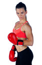 Woman boxer strong athlete with boxing gloves Stock Photos