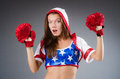 Woman boxer in uniform with us symbols Royalty Free Stock Photography