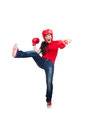 Woman boxer on white background Stock Photos