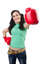 Woman boxer on white background Stock Image