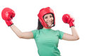 Woman boxer on white background Royalty Free Stock Image