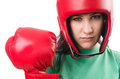Woman boxer on white background Stock Photography