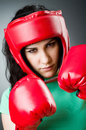 Woman boxer on white background Royalty Free Stock Photos