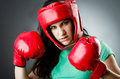 Woman boxer on white background Royalty Free Stock Photography
