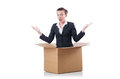 Woman with boxes on white Stock Image