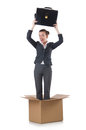 Woman with boxes on white Stock Photos