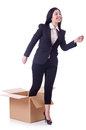Woman with boxes on white Royalty Free Stock Images